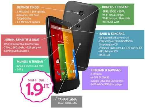 ... Moto G (8 GB) warna hitam dan Motorola Moto G (16 GB) warna hitam