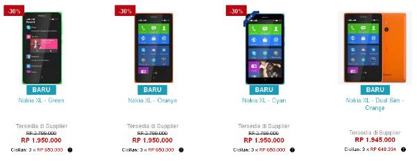 Harga Nokia XL Android Dual Sim Di Lazada Juni 2014