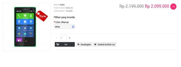 Harga Nokia XL (Nokia Android) Di Indonesia sentraponsel.com