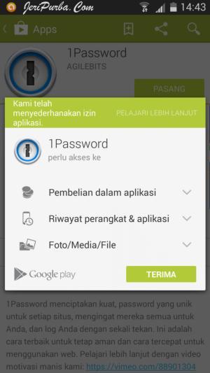 Izin Pemasangan Aplikasi 1Password Untuk Android