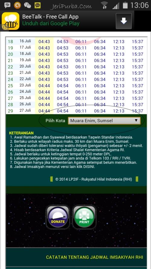 Jadwal Imsakiyah 2014 Berbagai Kota di Indonesia.