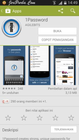 Proses Install 1Password Android Selesai