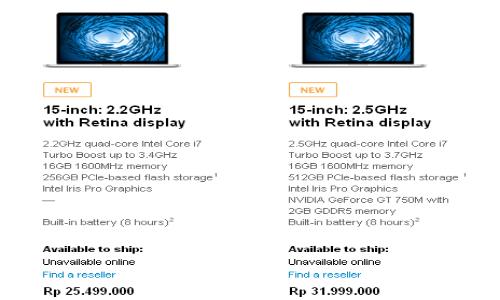 Spesifikasi dan Harga MacBook Pro 15 inchi.