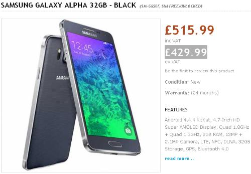 Harga Samsung Galaxy Alpha di Inggris