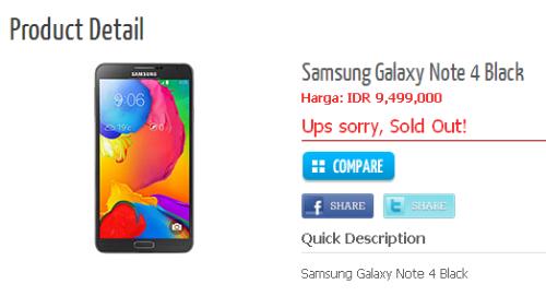 Harga Samsung Galaxy Note 4 Warna Hitam Di Indonesia