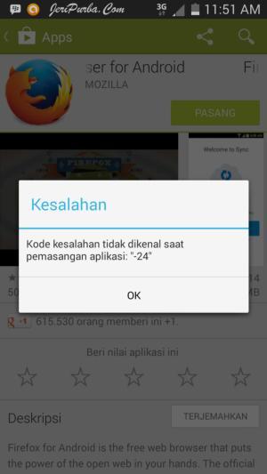 Kode Kesalahan 24 Saat Pemasangan Aplikasi Android