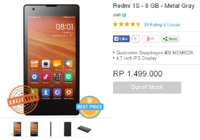 Pre Order Xiaomi Redmi 1S Di Lazada