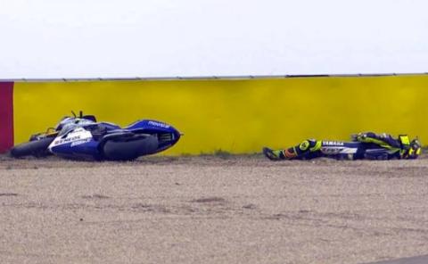Valentino Rossi Kecelakaan di Sirkuit MotorLand Aragon Spanyol