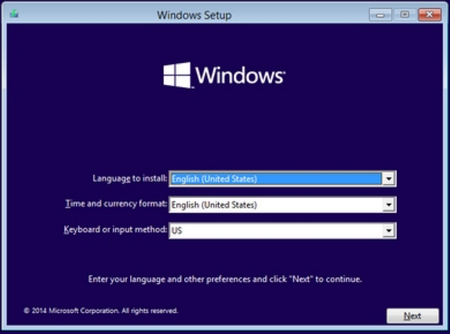 Pilihan Bahasa, Waktu dan Input Method Saat Proses Install Windows 10