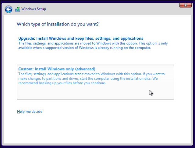 Pilihan Custom Instal Windows 10 Dual Boot