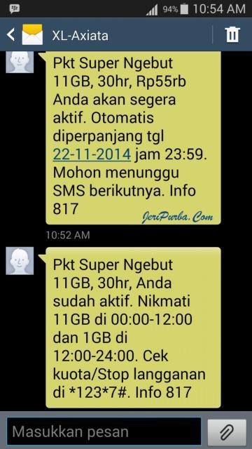 SMS Pemberitahuan Paket Internet XL Super Ngebut Telah Aktif
