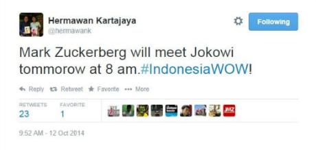 Tweet Hermawan Menyatakan Mark Zuckerberg Akan Menemui Jokowi