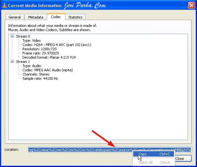 Copy URL File Download File Video YouTube Di VLC Media Player