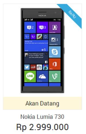 Harga Nokia Lumia 730 dual sim