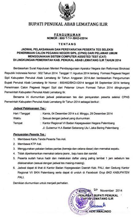 Download Pengumuman Peserta dan Jadwal Tes CPNS Kab PALI D3 dan S1 | Jeripurba.com