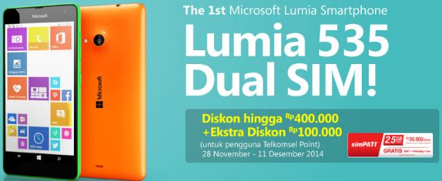 Pre Order Lumia 535 Dual Sim dan Harga Promo