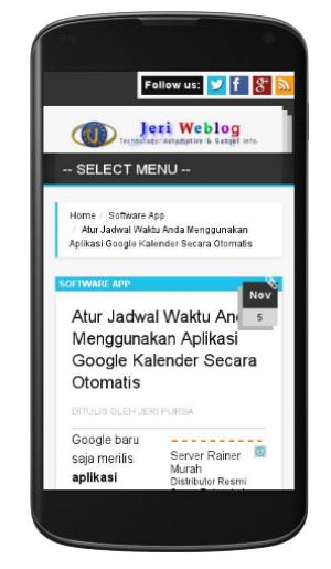 Tampilan Mobile JeriPurba.Com