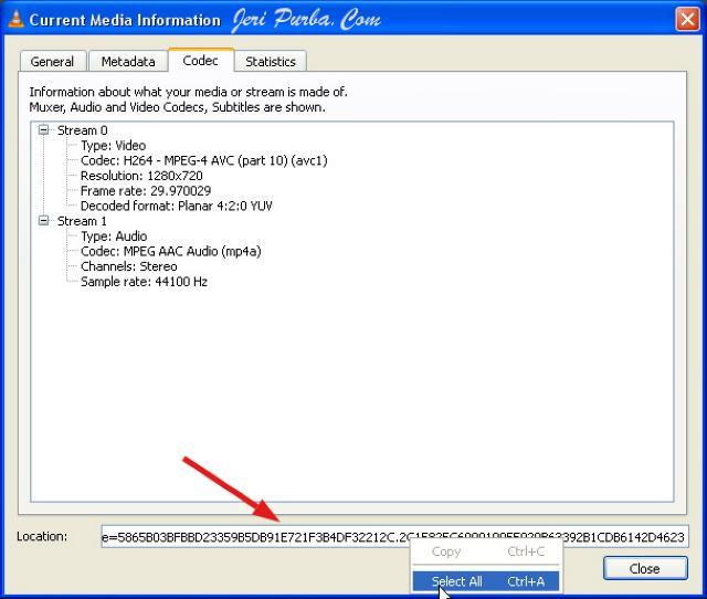Url Lokasi File Download Video YouTube Di VLC Media Player