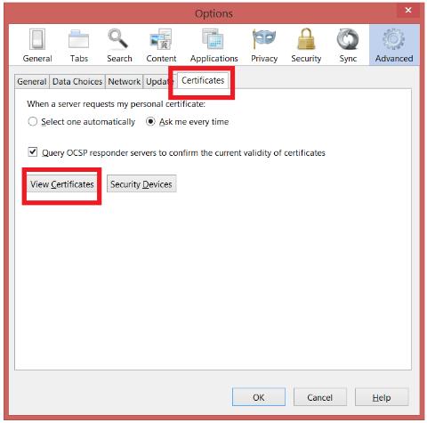 Menu Certificates Pada Mozilla Firefox