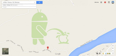 Gambar Android Kencingi Apple DI Google Maps