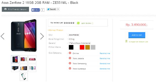 Harga Asus Zenfone 2 16GB 2GB RAM - ZE551ML Warna Hitam