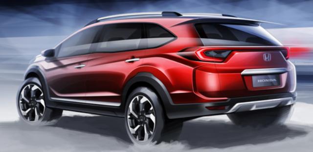 Gambar Honda BR-V Warna Merah (Tampak Belakang)