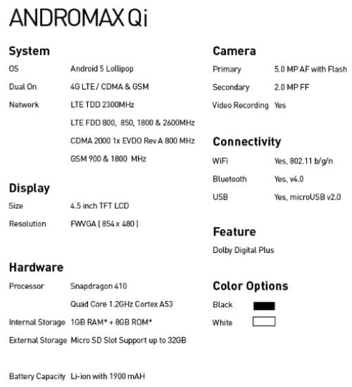 Spesifikasi Smartfren Andromax Qi 4G LTE