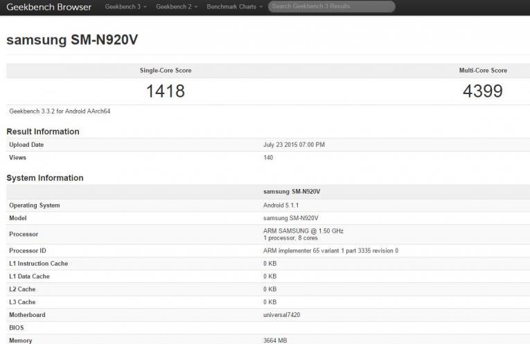Hasil Benchmark Samsung Galaxy S5 SM-N920V Verizon Wireless