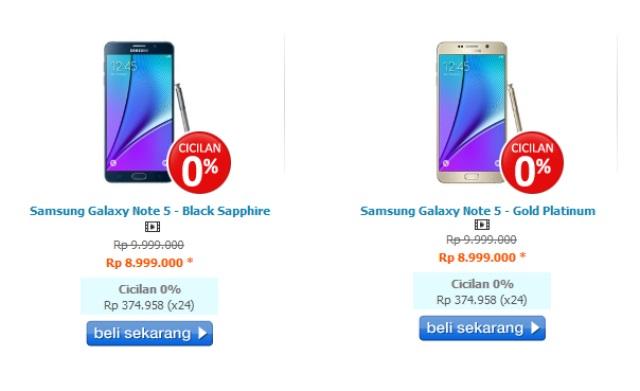 Harga Samsung Galaxy Note 5 Di Indonesia