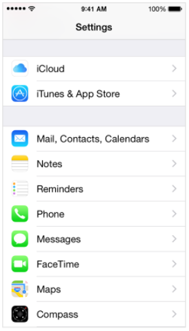 Menu Mail - Contacts - Calender iPhone