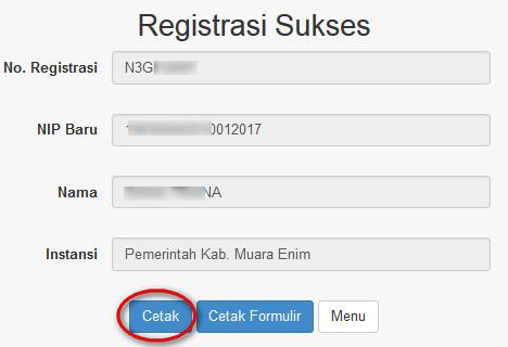 Nomor Registrasi Dan Cetak Bukti Pendaftaran PUPNS