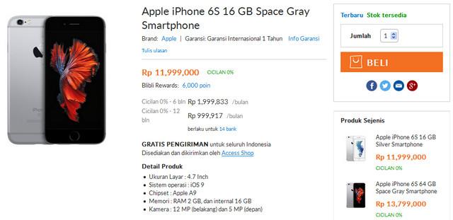 Harga iPhone 6s Di Indonesia