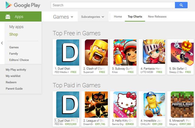 Duel Otak Jadi Game Android Terpopuler Minggu Ini