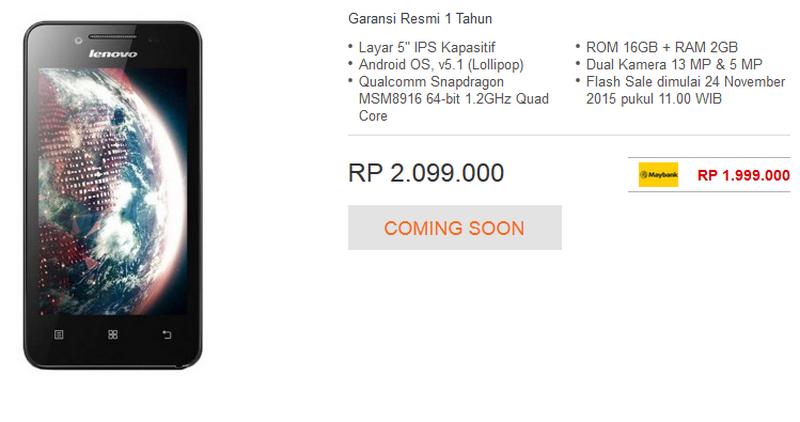 Harga Lenovo A6010 Di Indonesia