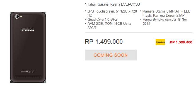 Spesifikasi dan Harga Evercoss Elevate Y3+