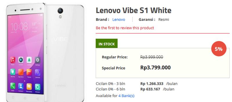 Harga Lenovo Vibe S1 di Indonesia