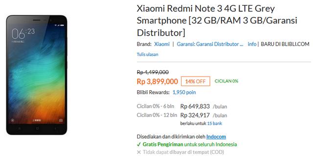 Harga Xiaomi Redmi Note 3 - 4G - RAM 3GB - ROM 32GB