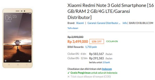 Harga Xiaomi Redmi Note 3 4G di Indonesia RAM 2GB - ROM 16GB