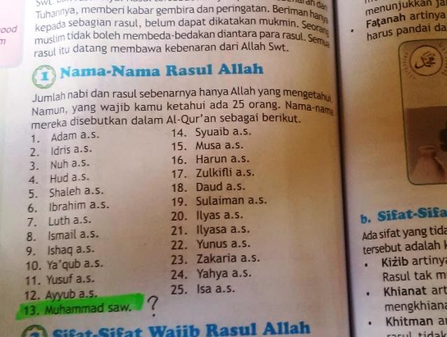 Buku Pendidikan Agama Islam yang Salah Mengurutkan Nama Nabi