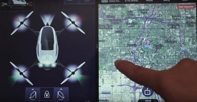 Panel Berupa Tablet Toucscreen Pada Drone Ehang