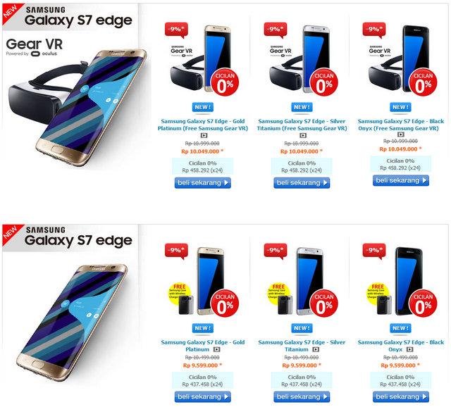 Pilihan Warna dan Harga Samsung Galaxy S7 Edge di Indonesia