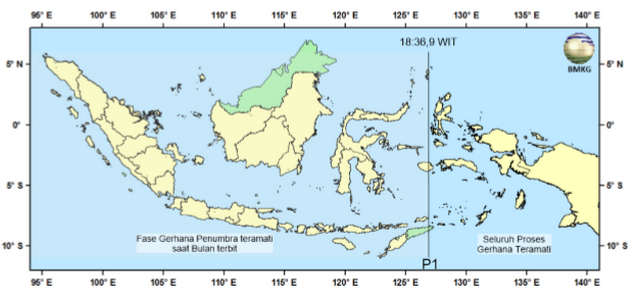 Peta Keteramatan Gerhana Bulan Penumbra 23 Maret 2016 di Indonesia.