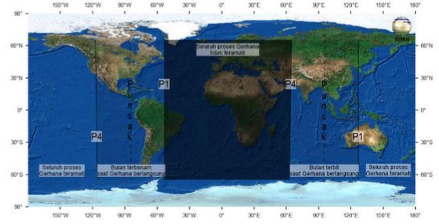 Peta keteramatan Gerhana Bulan Panumbra di seluruh dunia