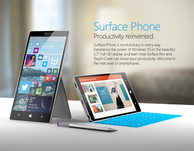 Konsep Windows 10 Mobile di Surface Phone