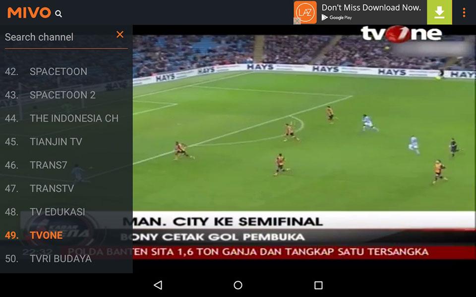 Mivo TV - Aplikasi TV Android Terbaik