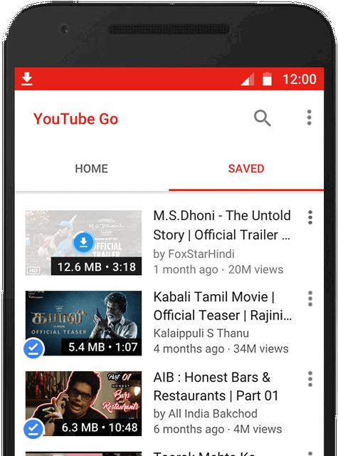 Fitur Untuk Menyimpan dan Menonton di YouTube Go