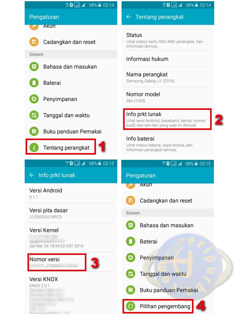 Cara Mengaktifkan Menu Pilihan Pengembang Di Samsung Galaxy J1