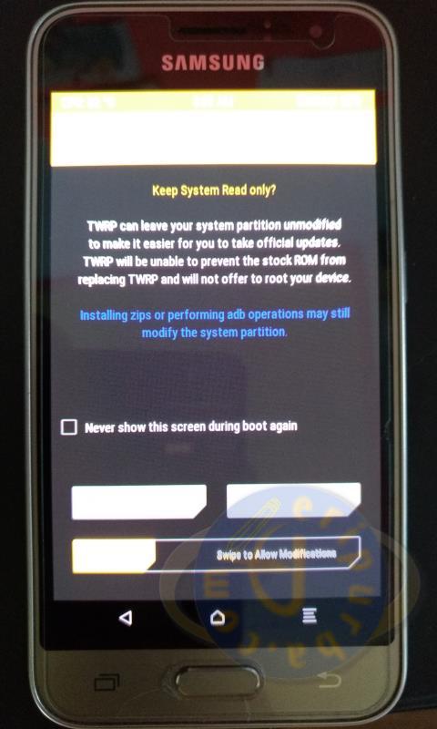 Menu Custom Recovery TWRP Galaxy J1 2016.
