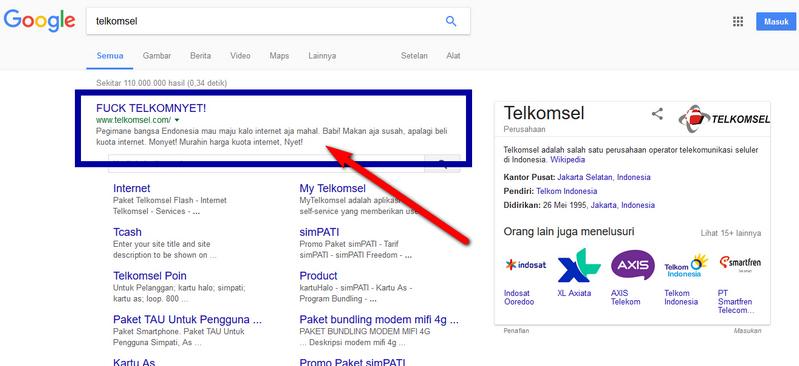 Hasil Pencarian Telkomsel Di Google Pasca Diretas