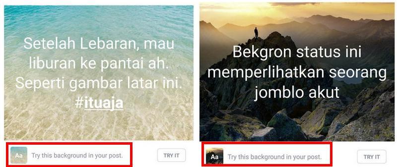 Menu Try this background untuk mencoba fitur update status teks berlatar foto